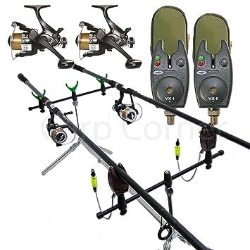 Set de pesca de carpa (2 cañas, 2 carretes, 2 alarmas ...