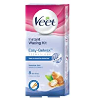 Veet Instant Waxing Kit for Sensitive Skin, 8 strips