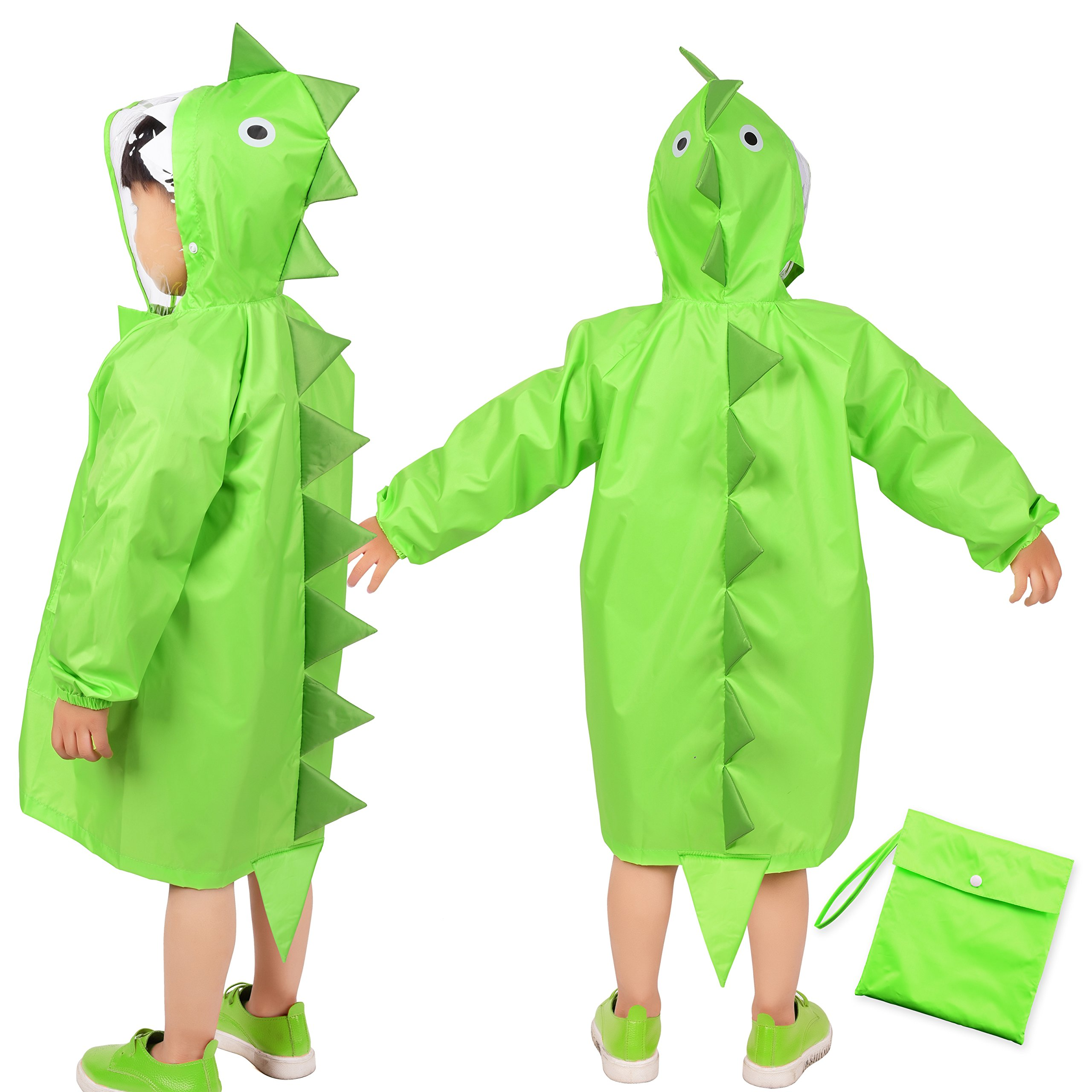 Rainbrace Kids Raincoat, Girls Boys Carton Waterproof Hood Rain Jacket Age 4-6