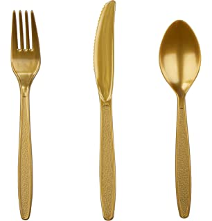 Plastic Cutlery Set - 96-Piece Gold Silverware Set, Disposable Flatware Set for Parties