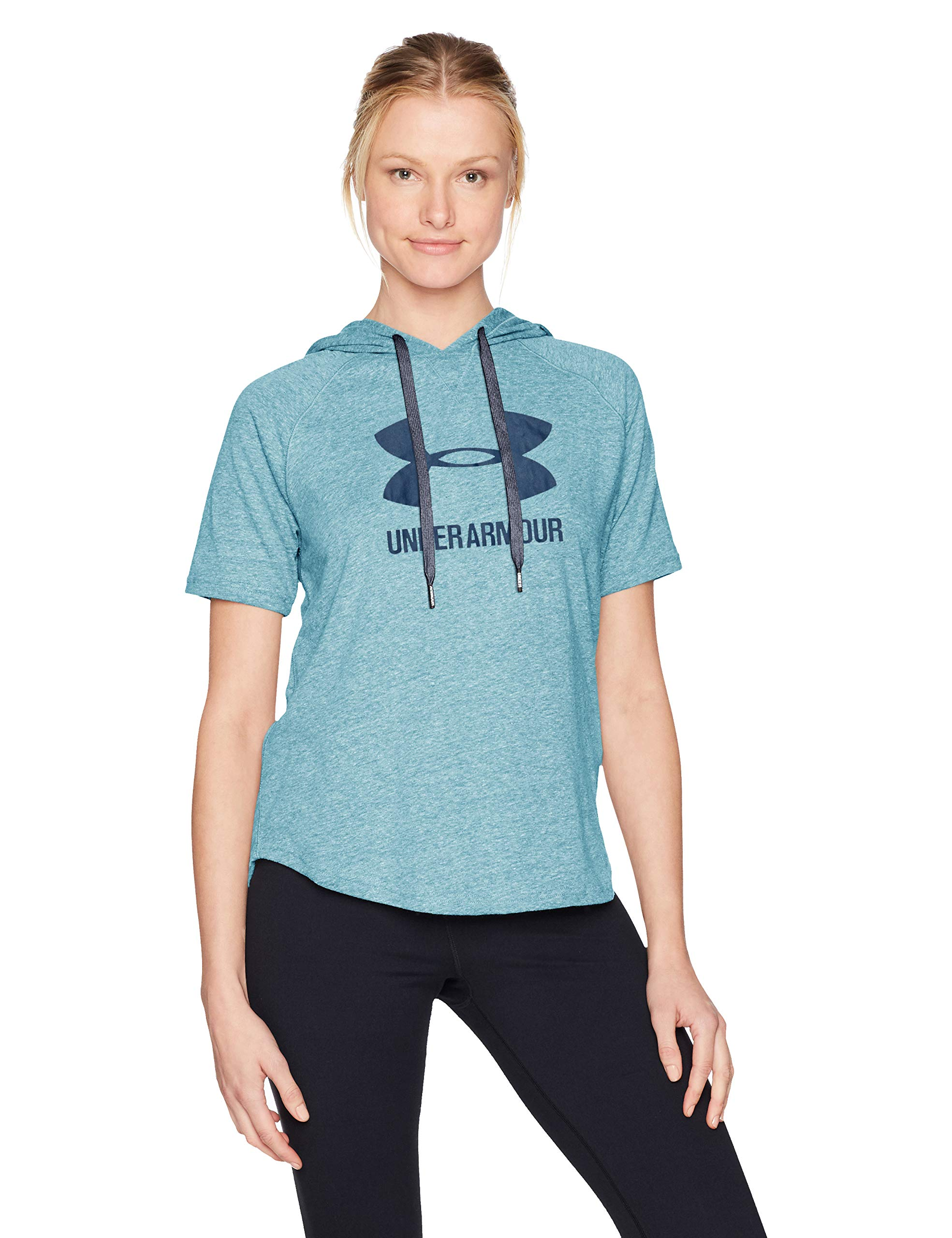 Under Armour Women's Sportstyle Short Sleeve Hoodie, Bayou Blue (953)/Midnight Navy, X-Small