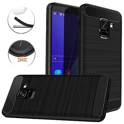 Dretal Galaxy J6 2018 Case, Carbon Fiber Shock Resistant Brushed Texture Soft TPU Phone case Anti-Fingerprint Flexible Full-Body Protective Cover for ...