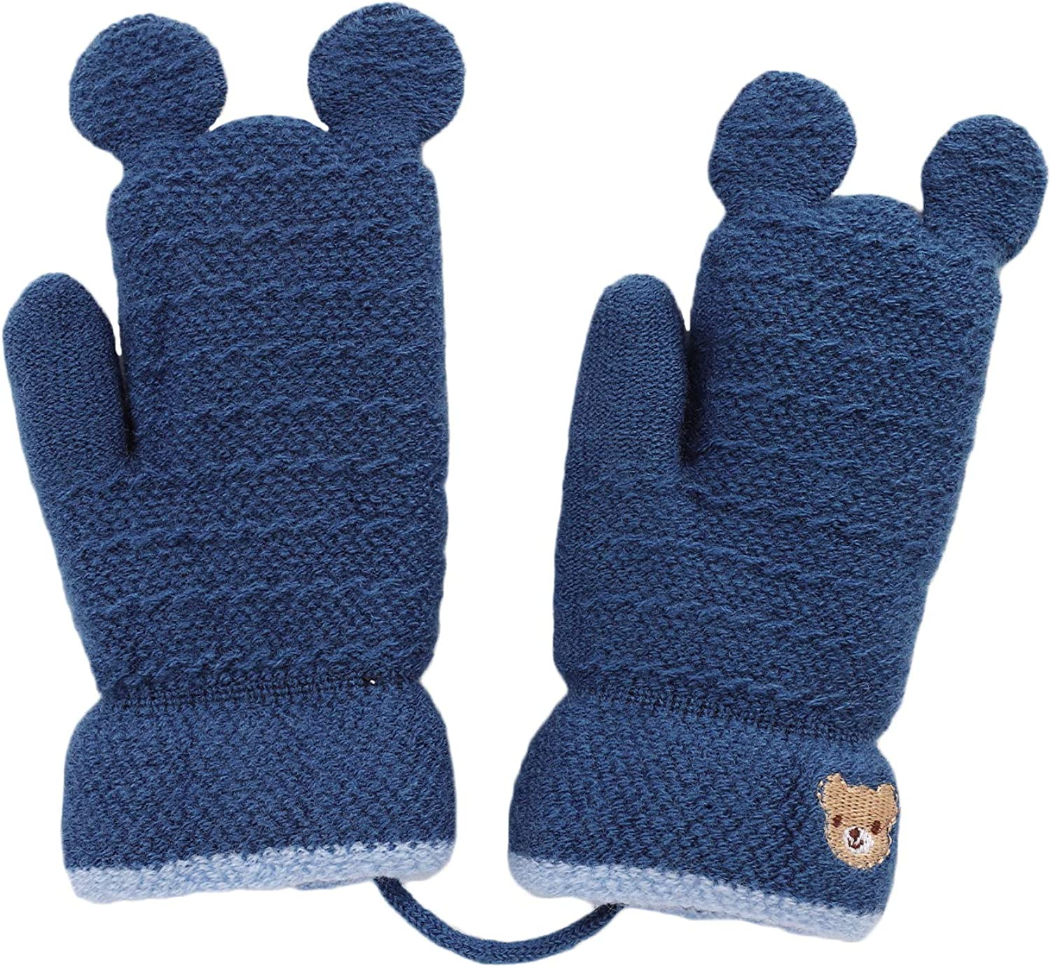Kids Cartoon knitted Gloves Cute Bear Hang Neck Mittens Thicken Winter Warm Gloves with Anti-lost String Full Fingers Baby Boy Girl Mitten Thermal Plush Outdoor Hand Warmer
