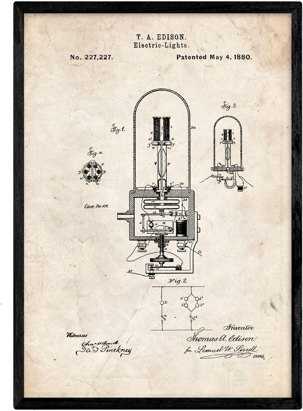 Nacnic Poster con Patente de Bombilla electrica 2. Lámina con ...