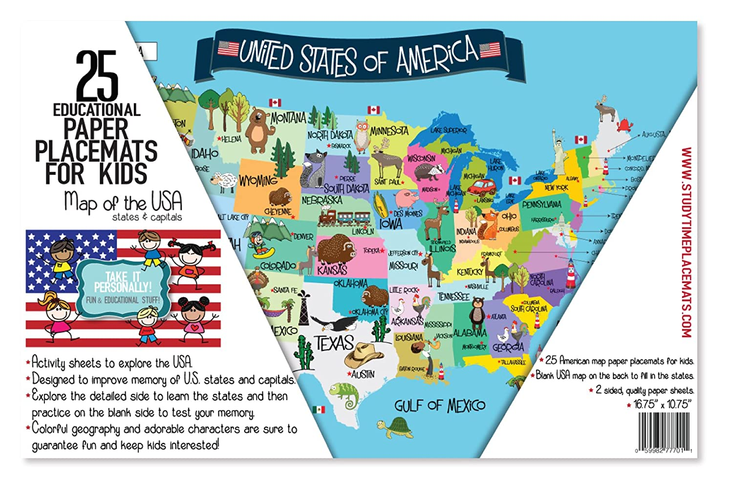 Amazoncom USA Map Memory Game And Activity Paper Placemats - Usa map with states and capitals for kids