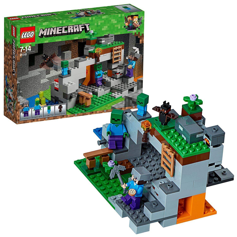 LEGO Minecraft - La Cueva de los Zombis, Juguete de Construcción Inspirado en el Videojuego, Incluye Personajes como Steve y un Zombie, Set a partir ...