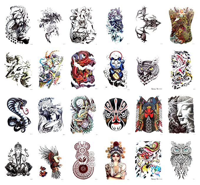 """296dd18ab71d8 Image Unavailable. Image not available for. Color: 24 sheets Buddha Ganesha  Guang Yu large 8.25"""" half-sleeve arm tattoo adult fake"""