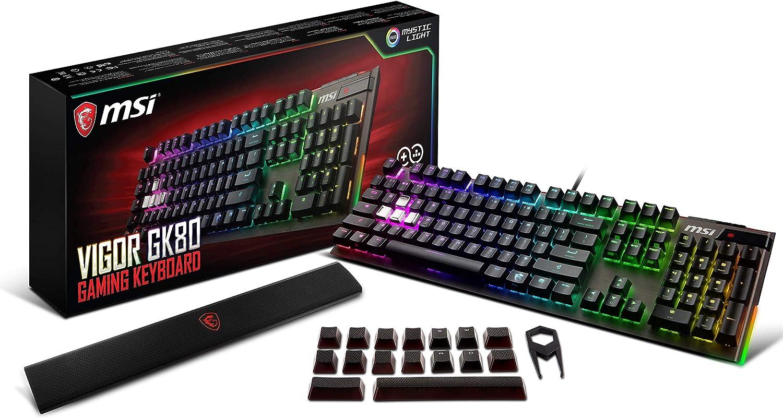 MSI Vigor GK80 CR ES - Teclado mecánico Gaming RGB retroiluminado con MX Cherry Red en Español, Color Negro