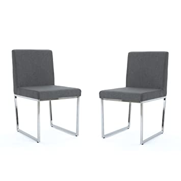 Strange Christopher Knight Home 304008 Dione Modern Charcoal Fabric Dining Chair With Chrome Finished Iron Legs Set Of 2 Caraccident5 Cool Chair Designs And Ideas Caraccident5Info