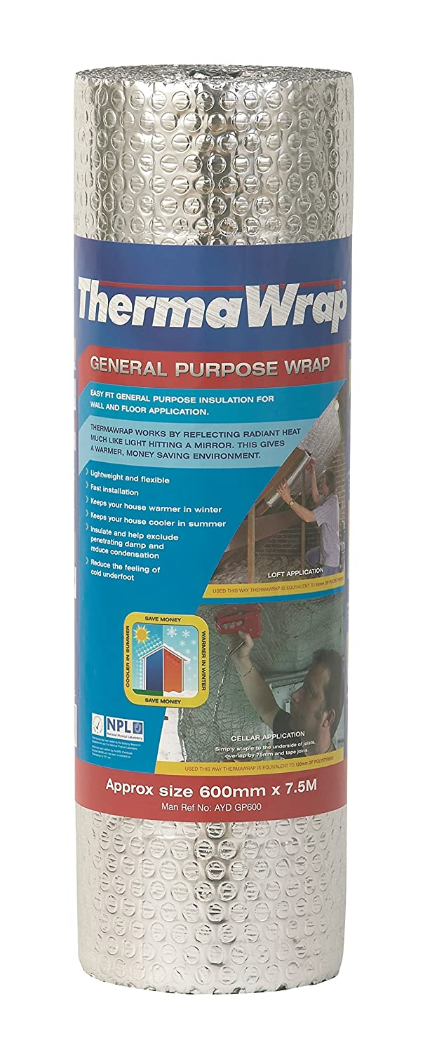Thermawrap 600mm x 7.5m x 3.7mm General Purpose Wrap Easy Fit General Purpose Insulation for Wall and Floor Application YBS Insulation GP 600MM