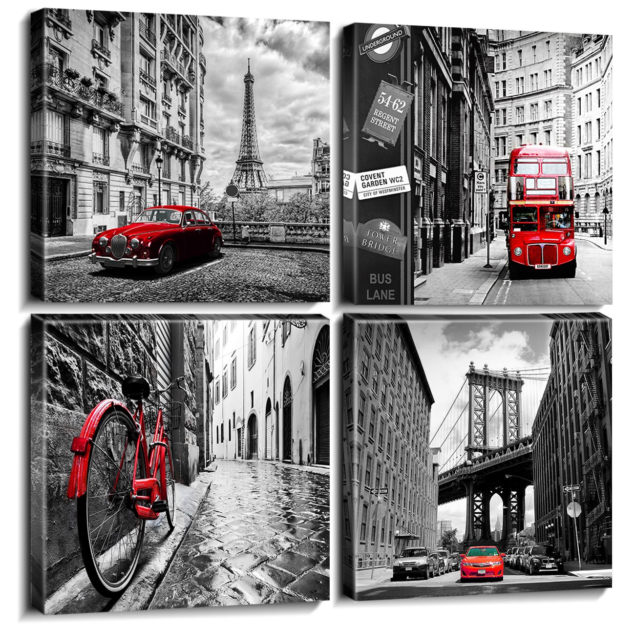 Wall Art City Canvas Prints Decor Homes Decorations Black and White with Red Cars Buildings Picture Framed Modern Artwork for Office Living Room Paris Pictures Set of 4 Piece 12'' X 12'' Each Panel