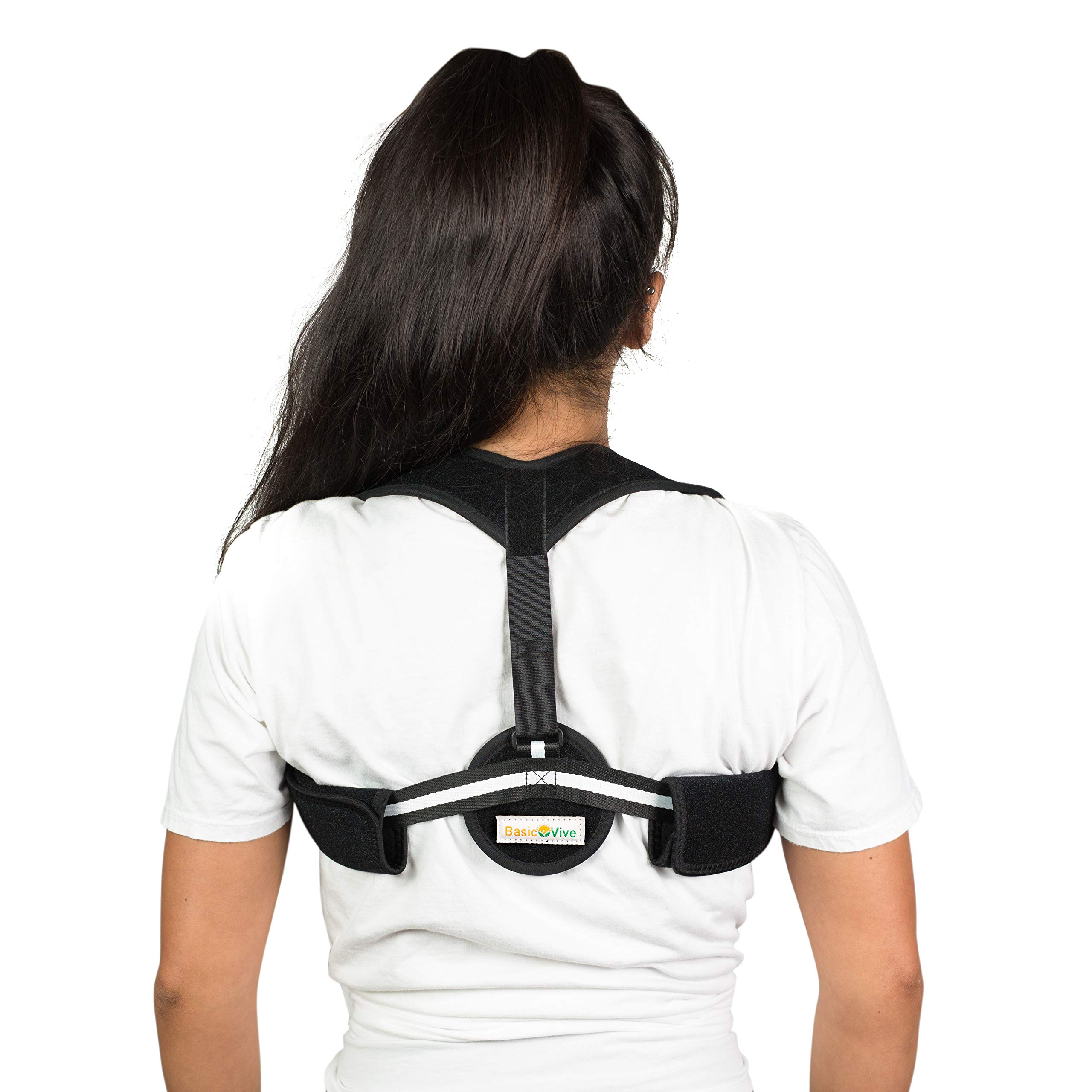 Posture Corrector for Women Men - Upper Back Pain Shoulder Support Neck Pain Relief - Comfortable Back Posture Brace - Clavicle Posture Support for Slouching Hunching - Discreet Design by BasicVive