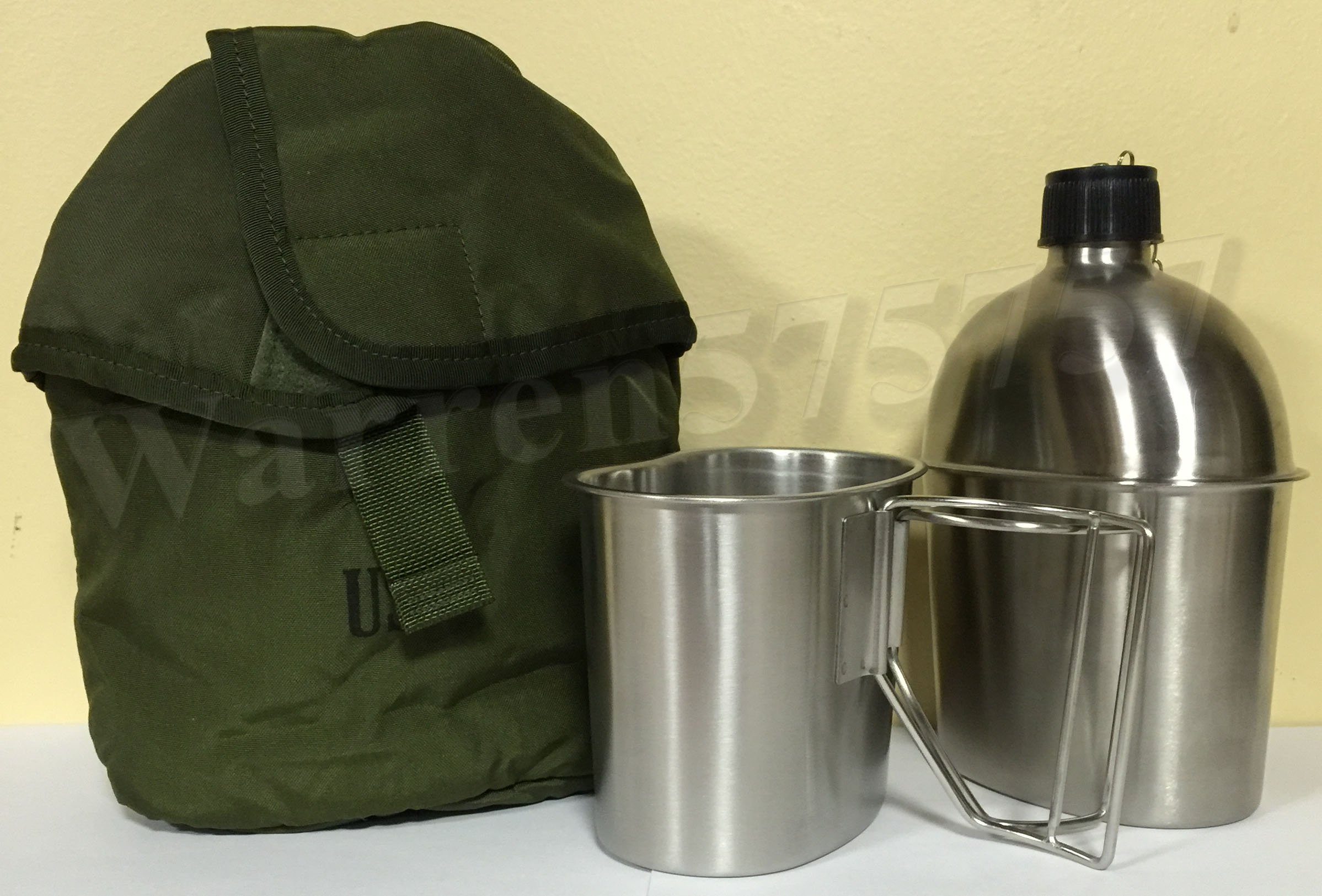 G.I. Style Stainless Steel 1qt. Canteen with Cup. And Surplus G.I. Issue Olive Drab Nylon Canteen Cover.