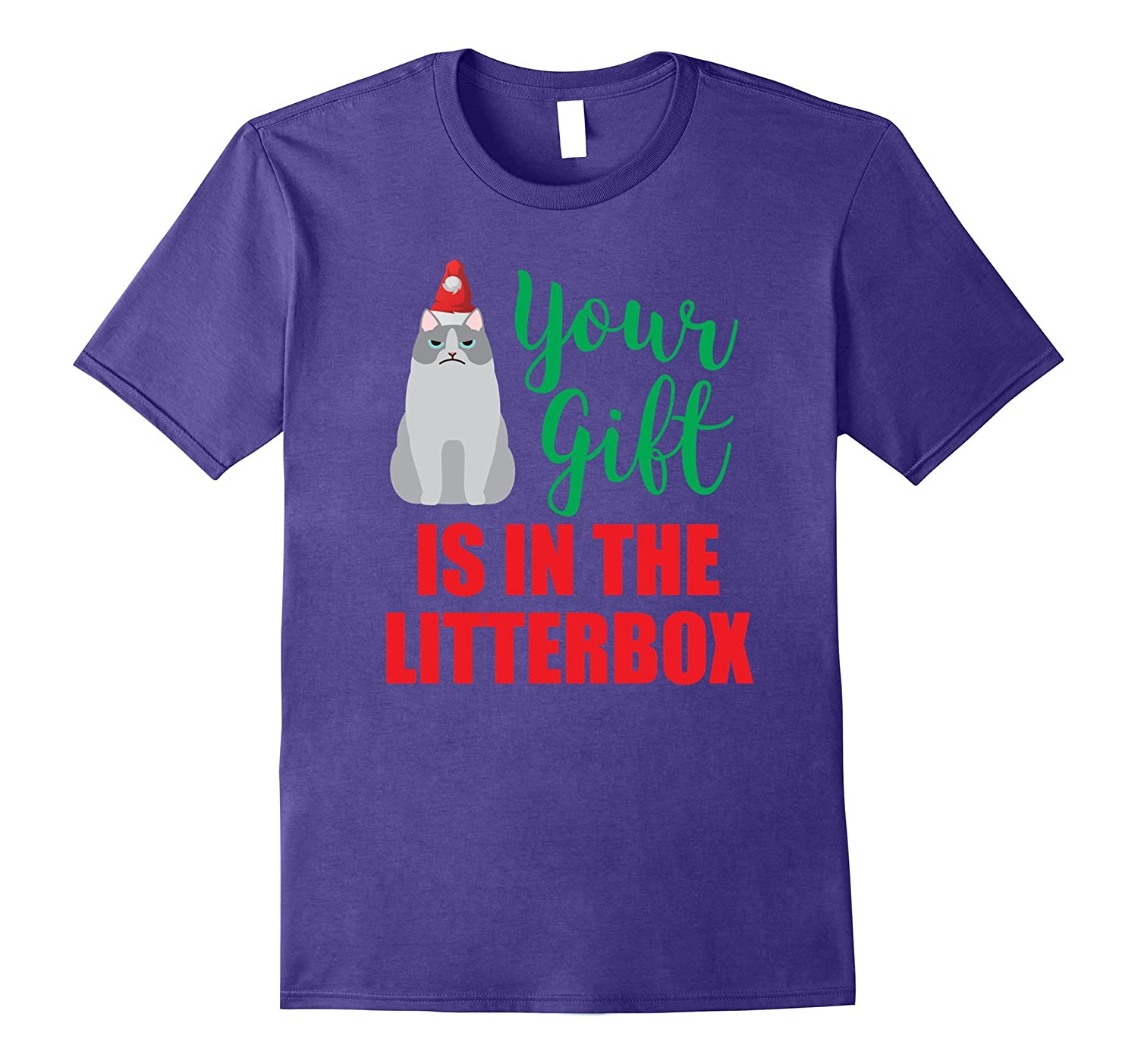 Your Gift is in the Litterbox funny Xmas Cat T-Shirt-ANZ