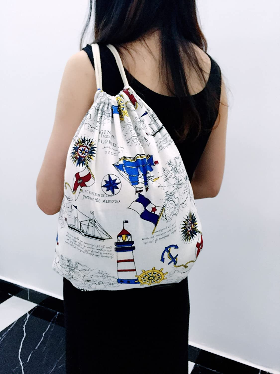 Travel bag Shopping bag with Printing Students School Printed Leaves for Sports Gym PME Drawstring Sport Backpack