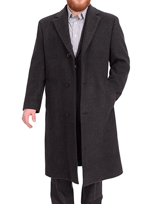 Men's Vintage Style Coats and Jackets Calvin Klein Mens Classic Fit Solid Charcoal Gray Wool Blend Top Coat Overcoat $159.00 AT vintagedancer.com