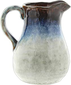 Distinctive Designs Ceramic Pitcher Vase with Blue Brown Glaze, 8""