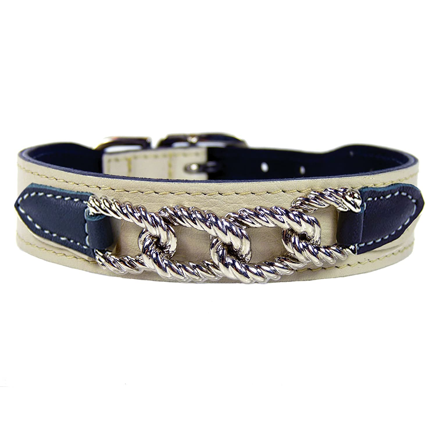 Hartman & pink 1458 Mayfair Dog Collar, 10 to 12-Inch, Eggshell with Charcoal Tabs