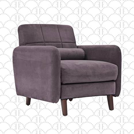 Elle Decor Natalie 26 Mid Century Modern Tufted Armchair Upholstered Microfiber Accent Chair Padded Backrest Dark Gray Furniture Decor