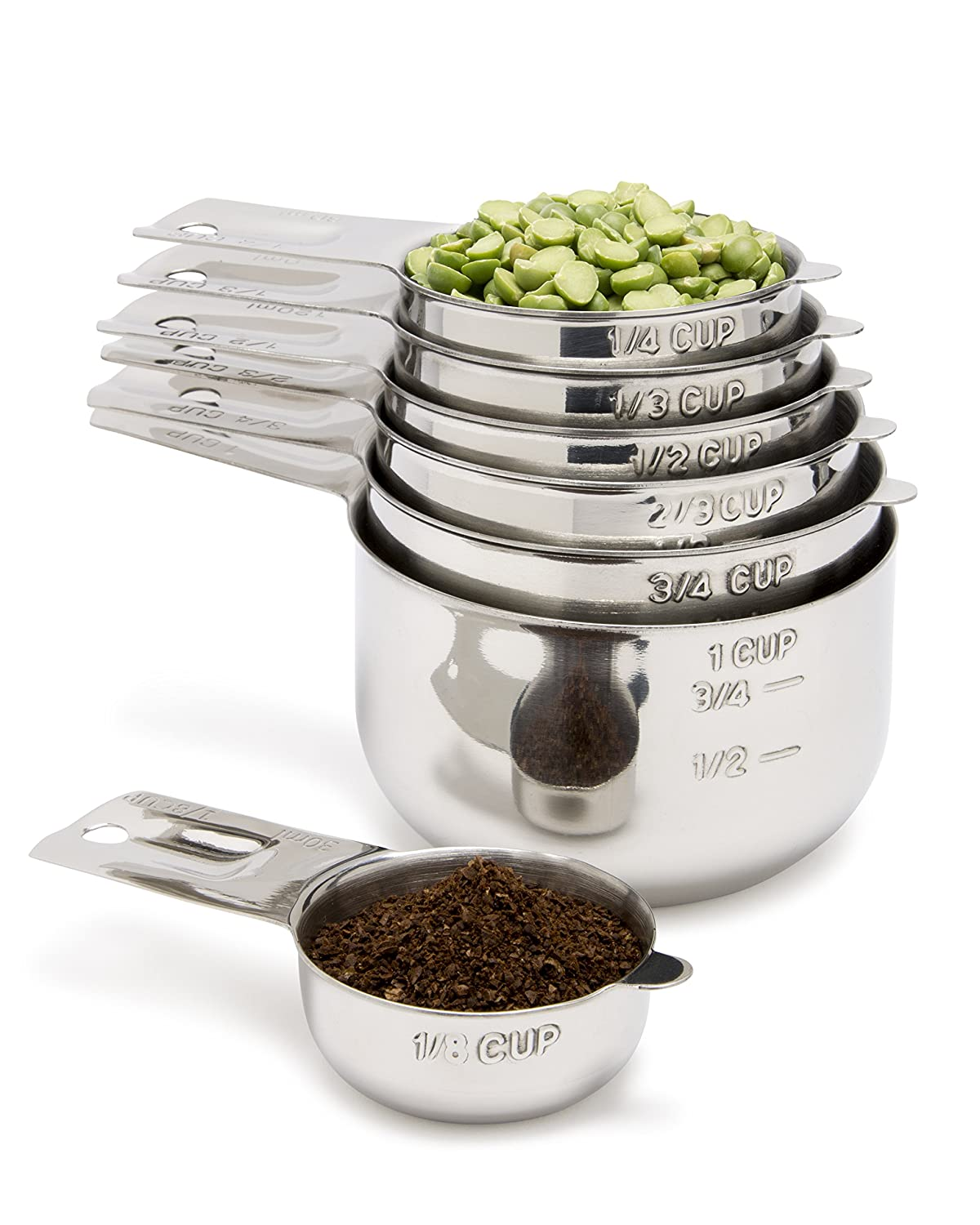 Simply Gourmet Measuring Cups 7 Piece Set With 1/8 Cup Coffee Scoop. Stainless Steel Measuring Cups That Nest For Easy Storage