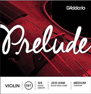 D'Addario J810 4/4M Prelude Violin String Set, 4/4 Scale, Medium Tension