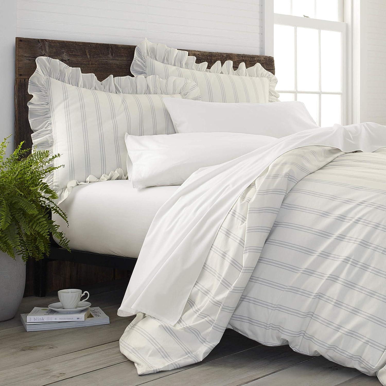 EcoPure 100/% Organic Cotton Comfort Wash Brooke Duvet Cover Set Full//Queen Gray