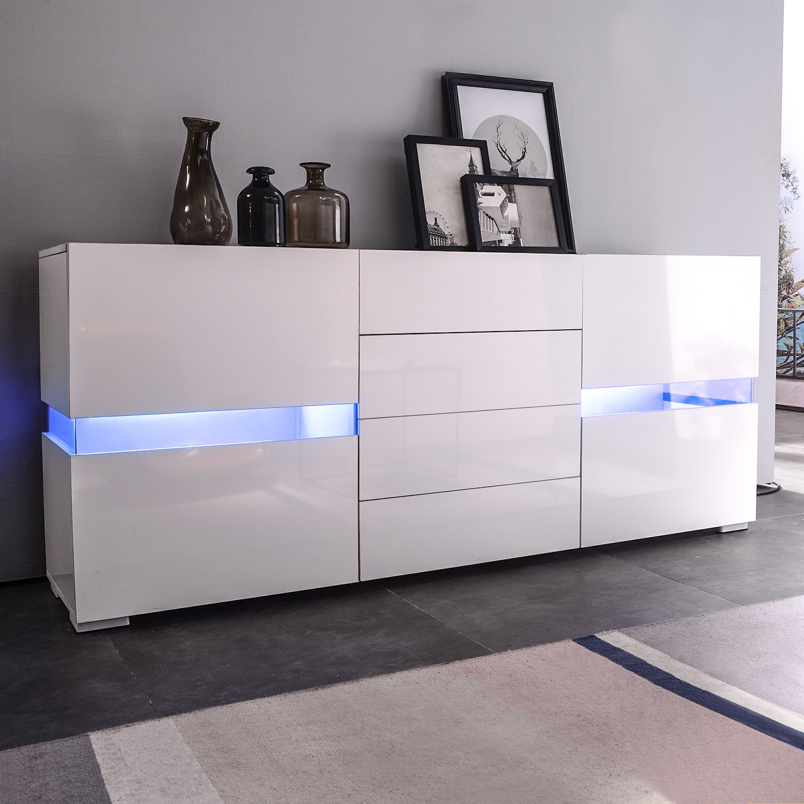 mecor Sideboard Cabinet Buffet w/LED Light, Kitchen LED Storage Cabinet Server Console Table, High Gloss w/ 2 Doors & 4 Drawers White by mecor