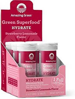 product image for Amazing Grass Effervescent Electrolyte Tablets: Greens + Hydration Water Flavoring Tablet with Vitamins, Strawberry Lemonade, 60 Count