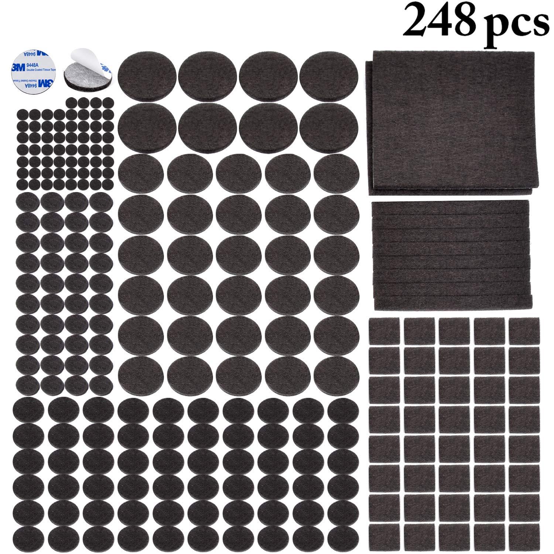 Outgeek Furniture Pads 248 PCS Dark Brown Self Adhesive Felt Furniture Pads 8 Sizes Best Floor Protectors for Your Hardwood Laminate Flooring No Scratch