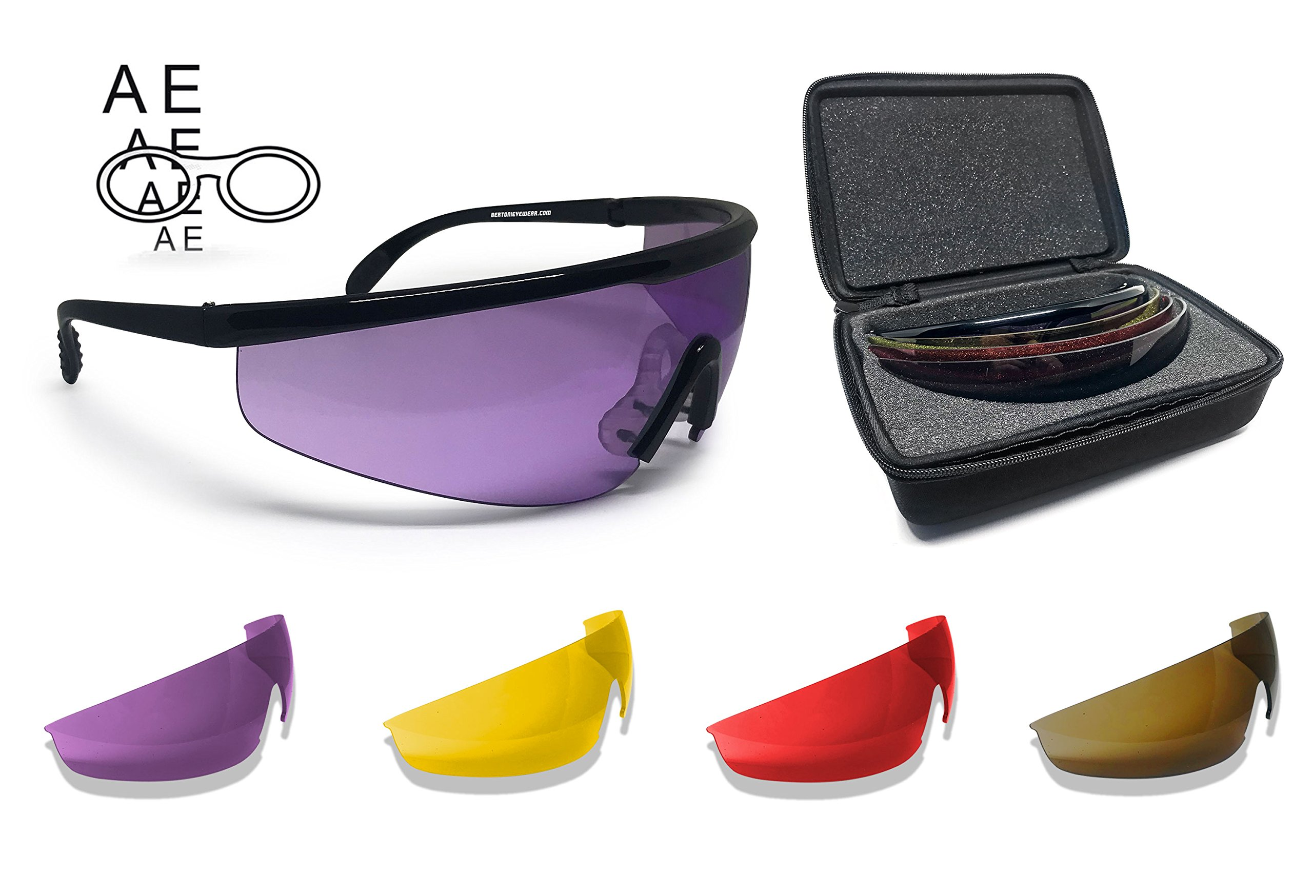 Bertoni Shooting Glasses with 4 Interchangeable Lenses and Carrying Case by Bertoni Italy – AF899 Tactical Protective Safety Glasses with Optical Prescription Carrier