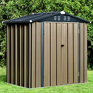 6' x 4' Outdoor Metal Storage Shed, Steel Utility Tool Storage House With Double Door & Lock, for Backyard Garden Patio Lawn