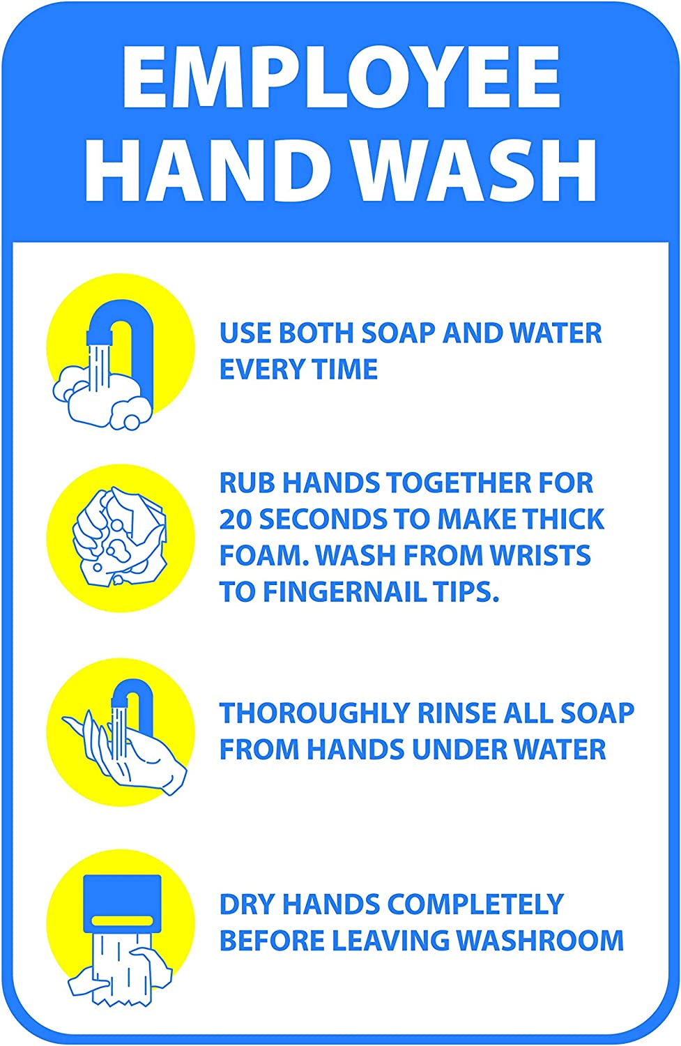 Employee Hand Wash Guide Sticker | Workplace Safety Signs for Public Restrooms, Restaurants, and Hospitals (Pack of 6)