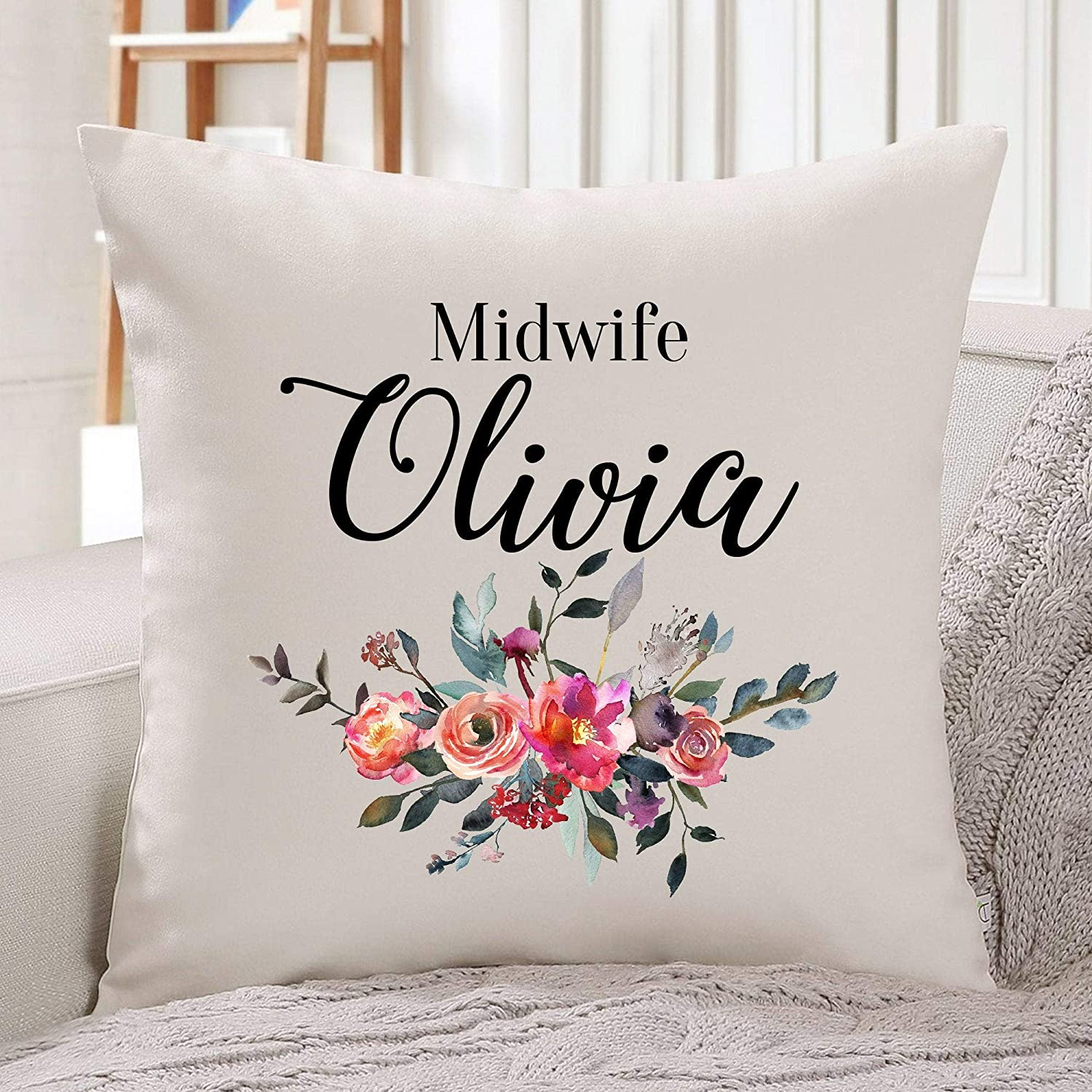 Personalised midwife cushion cover//Gift for midwife//Midwife Thank You Gift//Gift Ideas//Flower design//Floral concept