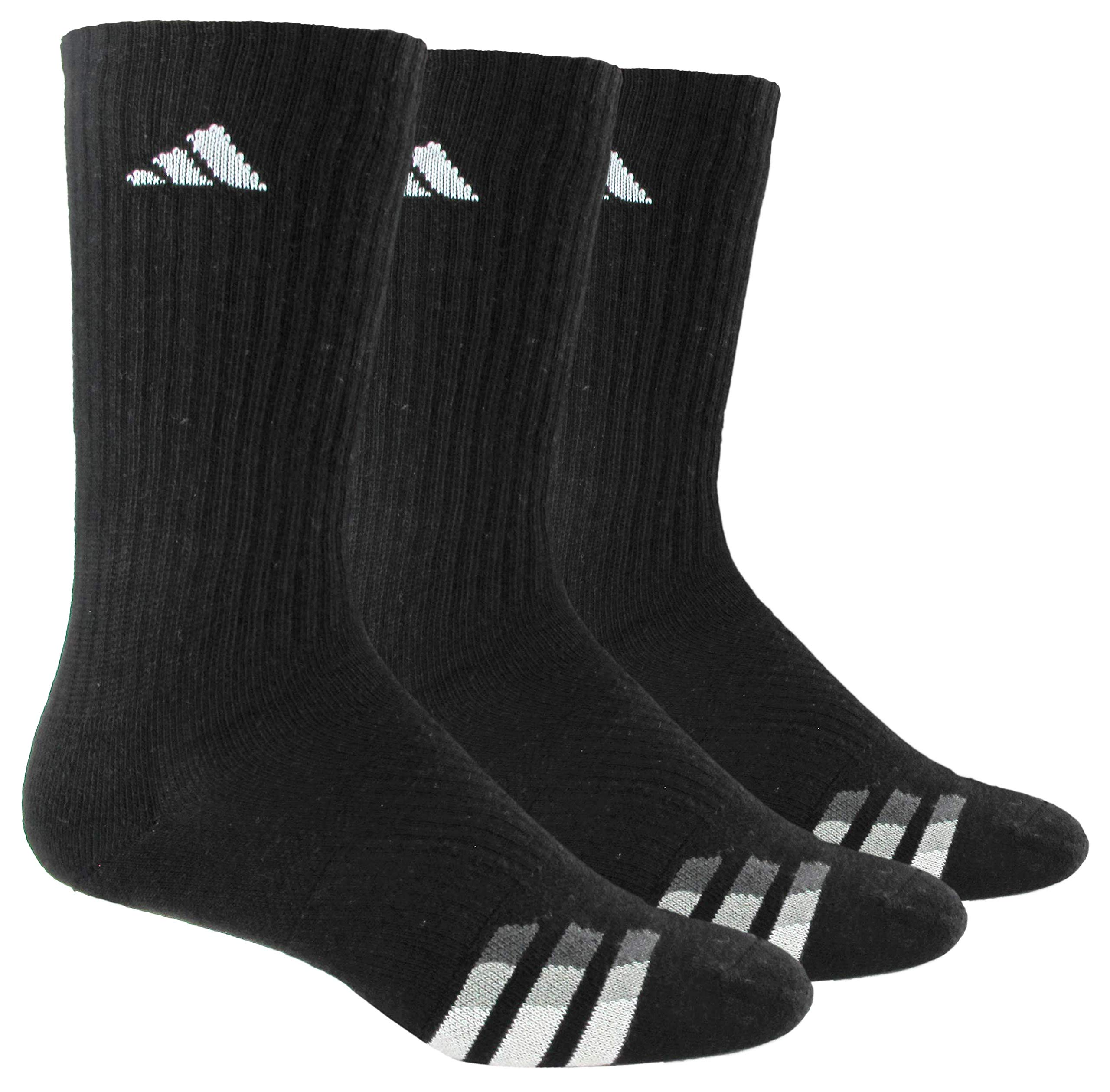 adidas Men's Cushioned Crew Socks (3-Pair), Black/White/Light Onix/Granite, Large, (Shoe Size 6-12) by adidas