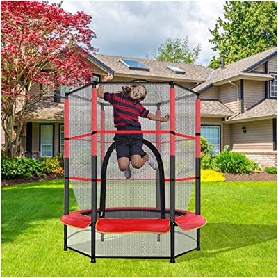 Kids Mini Trampoline | 5FT Round Bounce Jumping Mat for Indoor/Outdoor Trampoline with Safety Enclosure Net & Spring Pad for Kid Adults : Sports & Outdoors