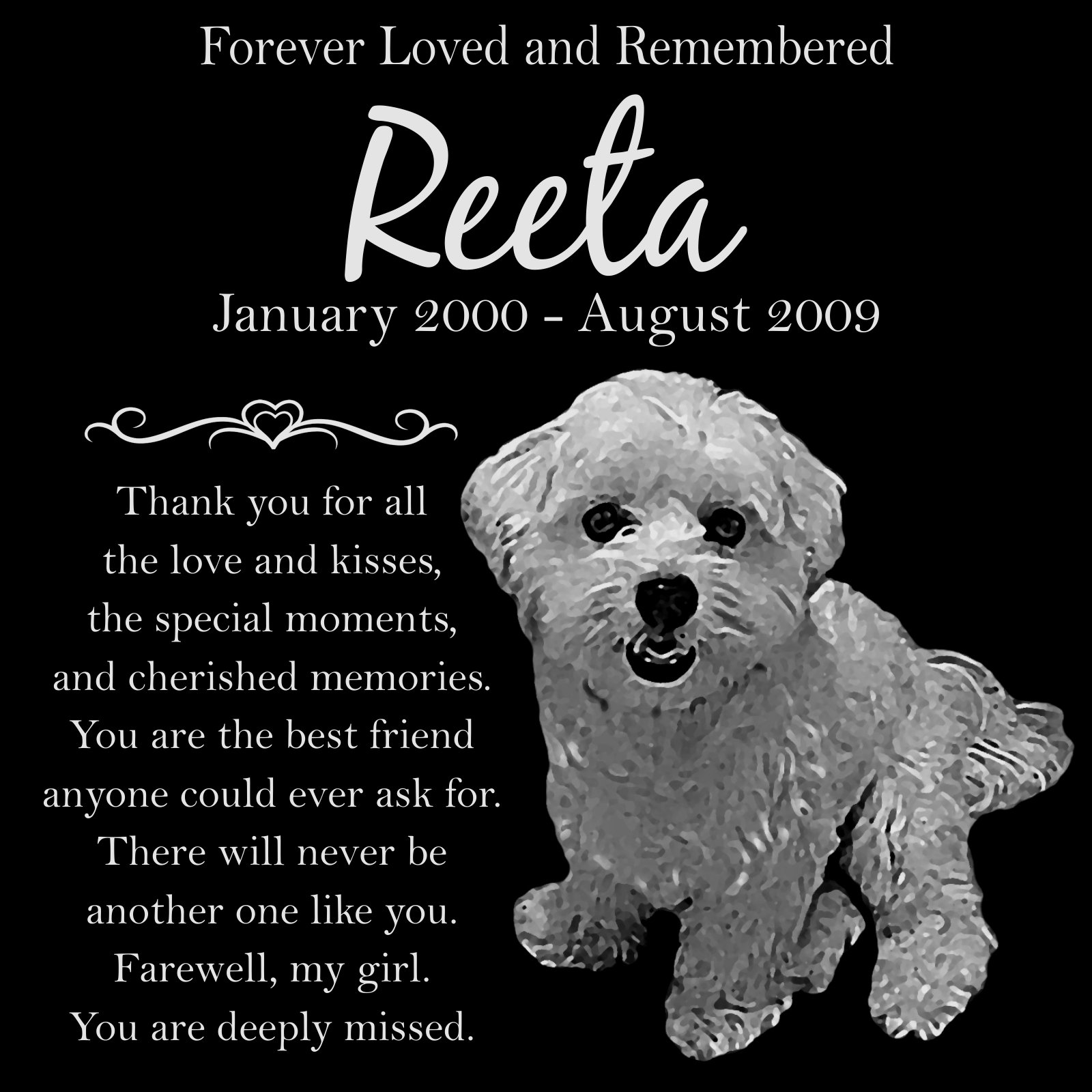 Personalized Maltese Dog Pet Memorial 12''x12'' Engraved Black Granite Grave Marker Head Stone Plaque REE1