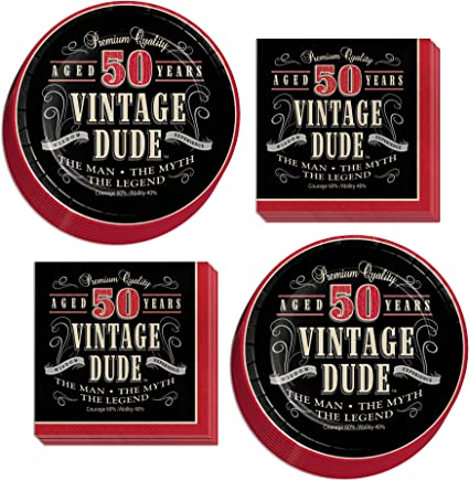 Serves 16 Old Man Vintage Dude Party Supplies 50th Milestone Dessert Plates and Napkins
