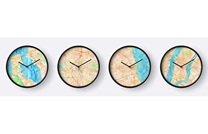 Amazon.com: DOCAZON US Time Zone - Set of 4 Wall Clocks - Printed ...