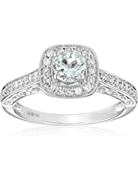 14k White Gold Aquamarine and Diamond (0.25 cttw, H-I Color, I2-I3 Clarity) Engagement Ring, Size 7