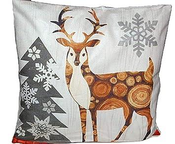 Kuscheliges Kissen 40x40 Cm Weihnachten Kissen Hirsch Mit Tanne Kissenhülle Weihnachtskissen Hirsch Sekt Braun