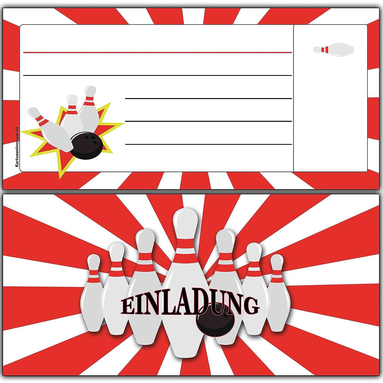 Einladungskarten Zum Geburtstag Bowling DIN Lang Blanko (10 Stück):  Amazon.de: