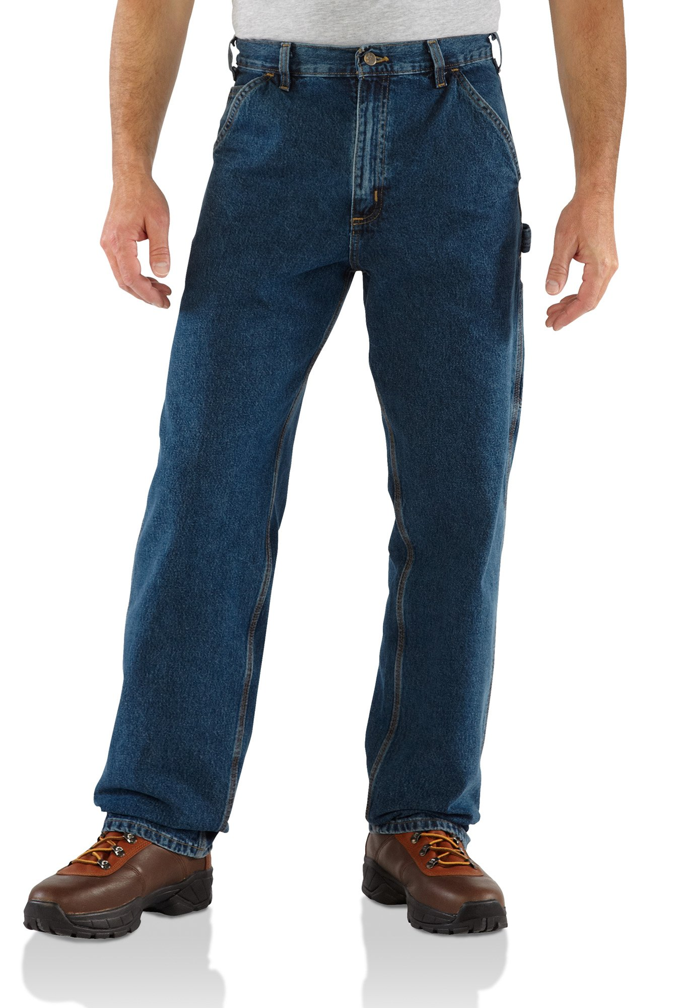 Carhartt Men's Washed Denim Original Fit Work Dungaree B13,Deepstone,46 x 32