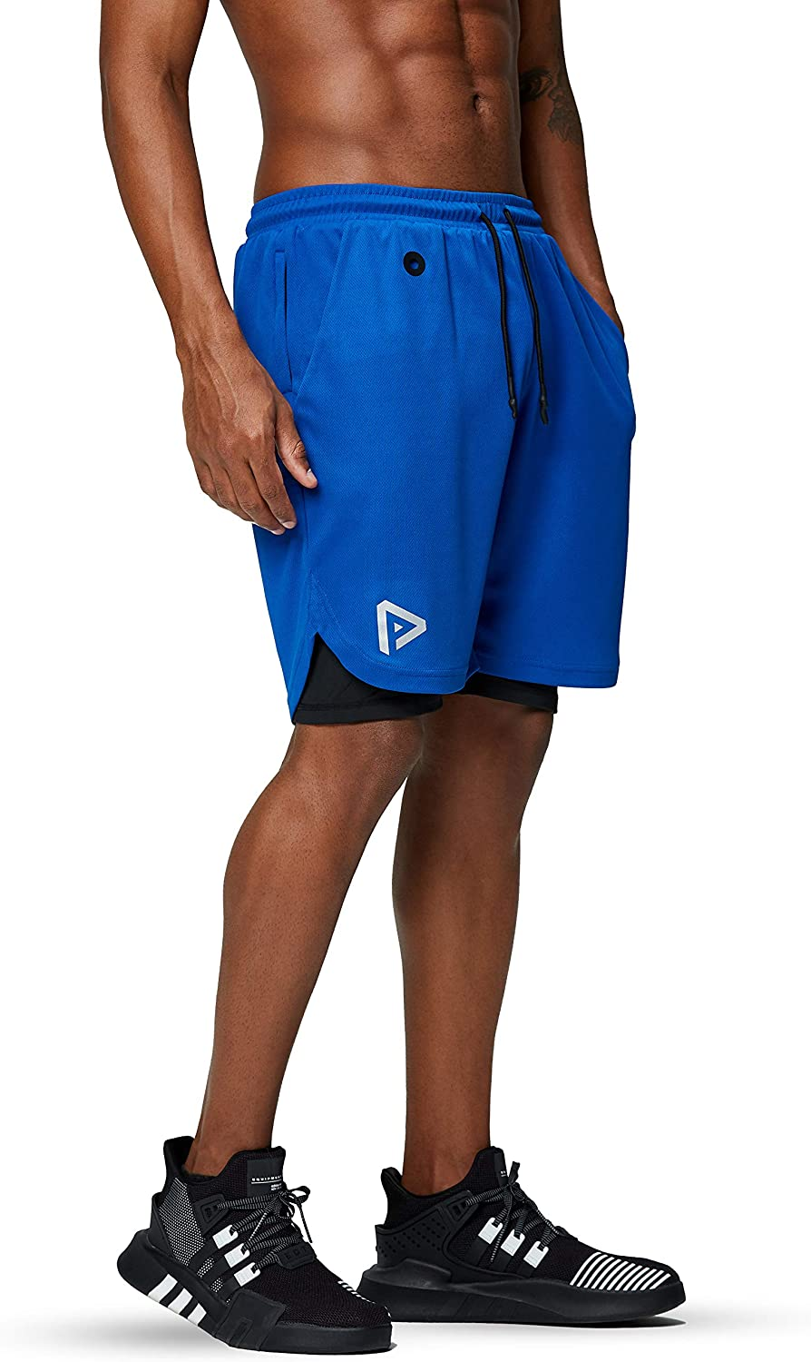 Pinkbomb Men's 2 in 1 Running Shorts Gym Workout Quick Dry Mens Shorts with Phone Pocket: Clothing