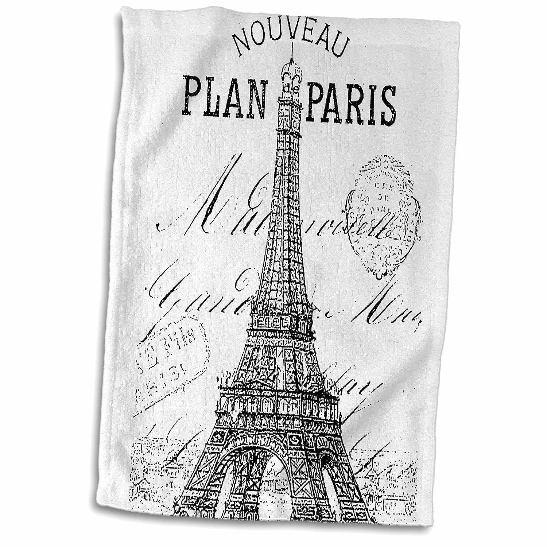 3D Rose Nouveau Paris Vintage Eiffel Tower Hand//Sports Towel 15 x 22 3dRose twl/_110389/_1