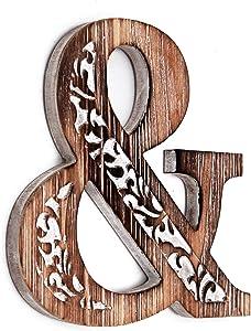 Wartter Decorative Wooden Ampersand Wall Décor, FreeStanding Monogram &Wood Sign Rustic Brown