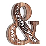 Wartter Decorative Wooden Ampersand Wall Décor, FreeStanding Monogram &Wood Sign Rustic Brown