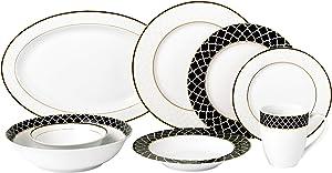 Lorren Home Trends Domino Dinnerware Set, Black