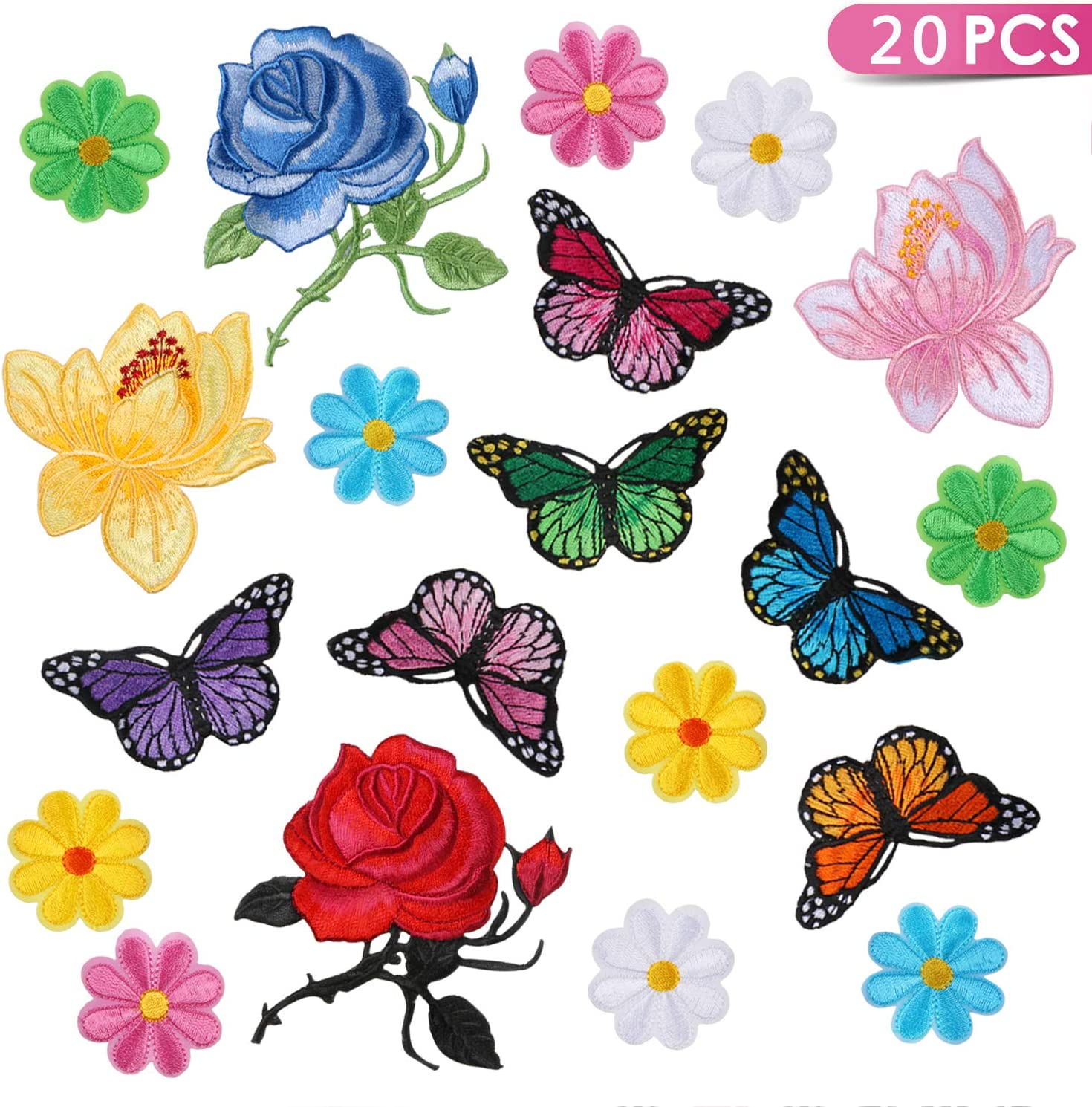 Kissbuty 20 Pcs Flowers Butterfly Iron on Patches Sew on Embroidery Applique Patches for Arts Crafts DIY Decor, Jeans, Jackets, Clothing, Bags(Rose/Lotus/Sun Flower/Butterfly Decorative Patch)