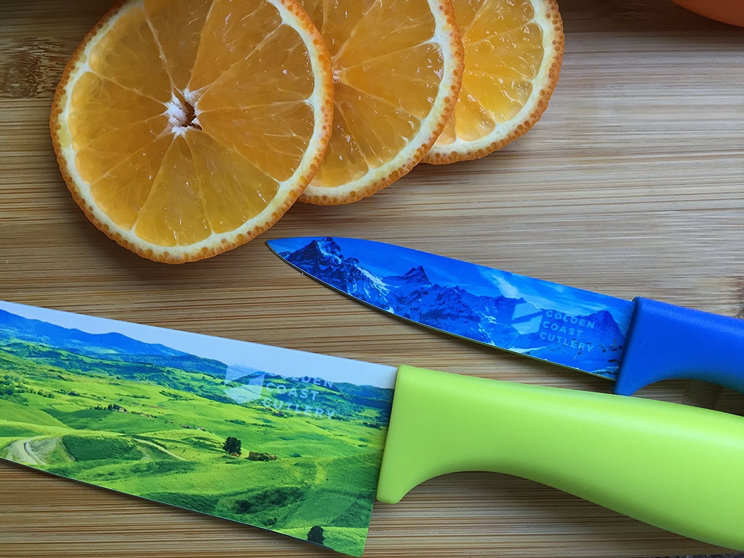 Set of 6 Landscape Kitchen Chef's Knives - Beautifully Designed Razor-Sharp Premium Gift Artisanal Cutlery Set With Non-Stick Surface Finish - By Golden Coast Cutlery by Golden Coast Cutlery (Image #9)