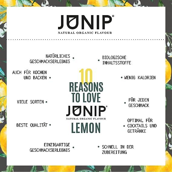 Saborizante natural de bebidas JUNIP | para té, agua y cócteles | 100% BIO sin aditivos artificiales ni azúcares añadidos | Sabor a limón